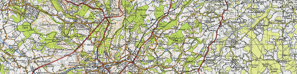 Old map of Weydown Common in 1940