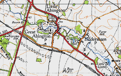 Old map of Great Abington in 1946
