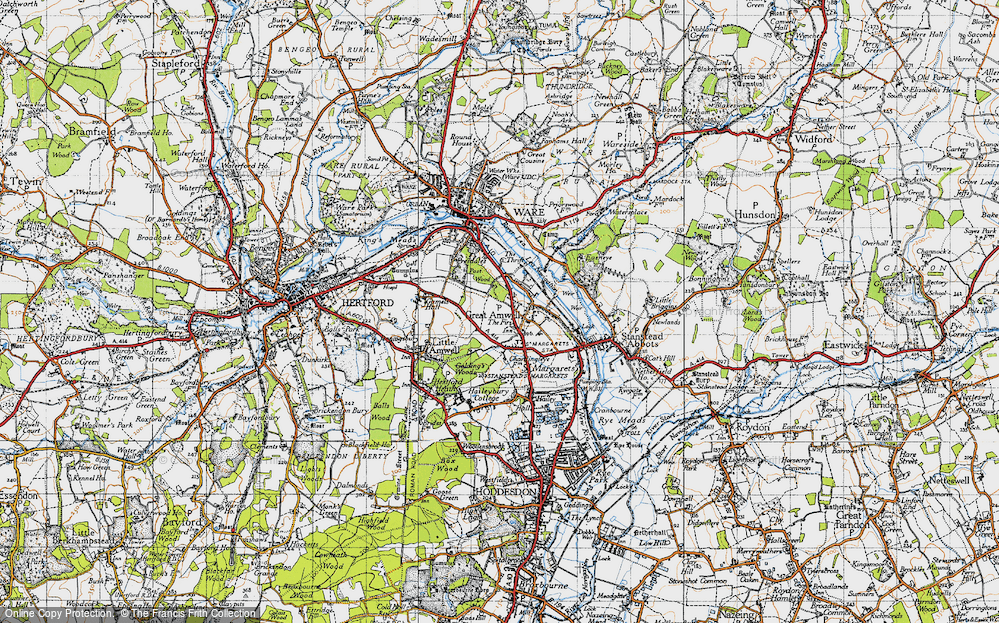Old Map of Great Amwell, 1946 in 1946