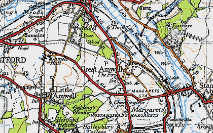 Old map of Great Amwell in 1946