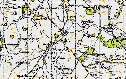 Old map of Asby Hall in 1947