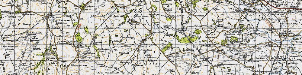 Old map of Whygill in 1947