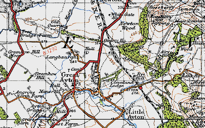 Old map of Great Ayton in 1947