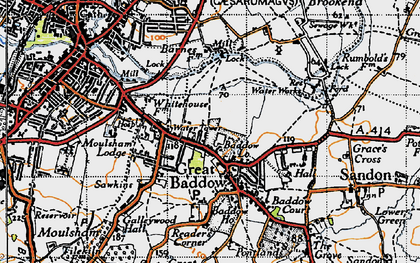 Old map of Great Baddow in 1945