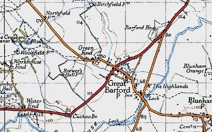 Old map of Great Barford in 1946