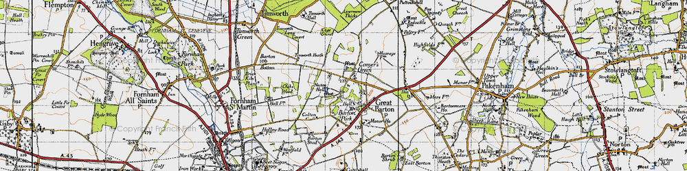 Old map of Great Barton in 1946