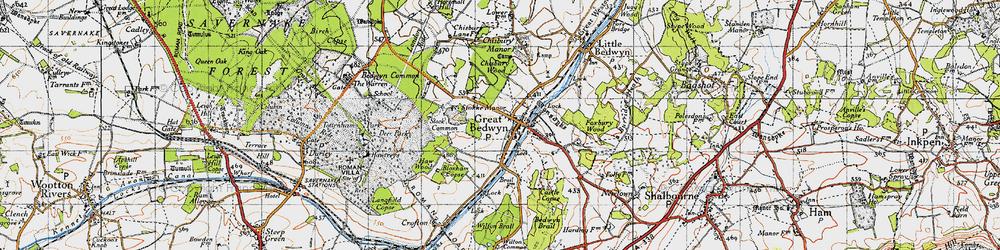 Old map of Great Bedwyn in 1940
