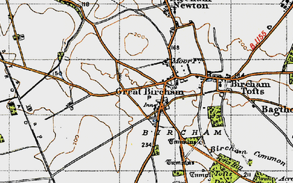 Old map of Great Bircham in 1946