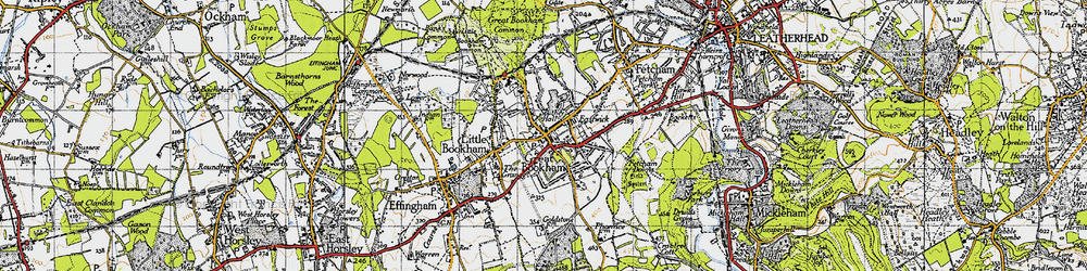 Old map of Great Bookham in 1945