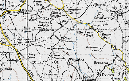 Old map of Great Bosullow in 1946