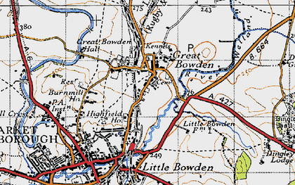 Old map of Great Bowden in 1946