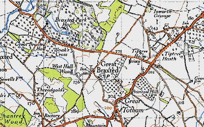 Old map of Tiptree Priory in 1945
