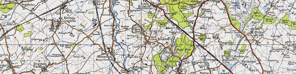 Old map of Great Brickhill in 1946