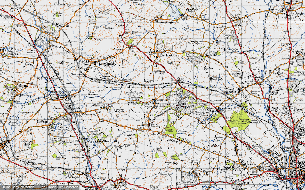 Old Map of Historic Map covering Althorp Park in 1946