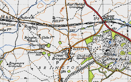 Old map of Great Brington in 1946
