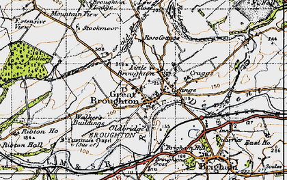 Old map of Great Broughton in 1947