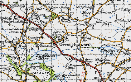 Old map of Great Budworth in 1947