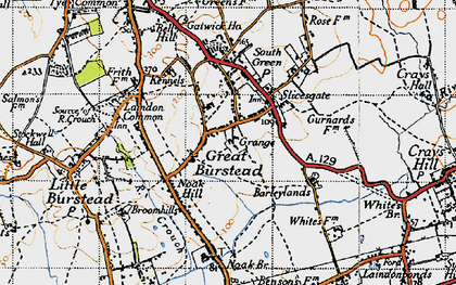 Old map of Great Burstead in 1946