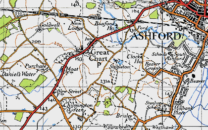Old map of Great Chart in 1940