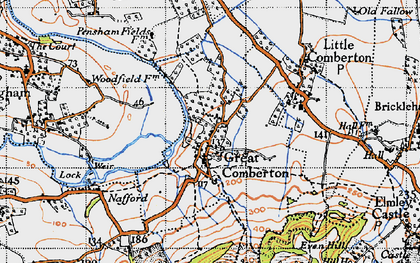 Old map of Great Comberton in 1946