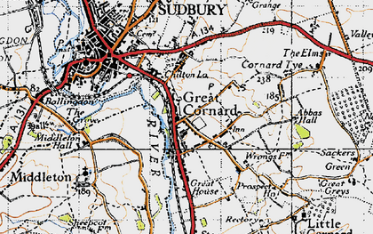 Old map of Great Cornard in 1946