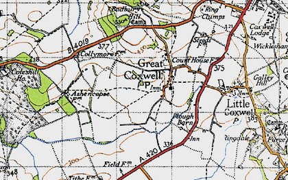 Old map of Badbury in 1947