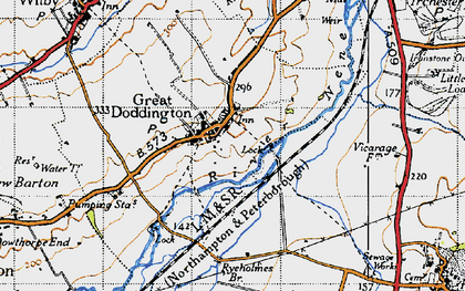 Old map of Great Doddington in 1946