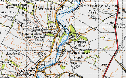 Old map of Great Durnford in 1940