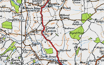 Old map of Great Easton in 1946