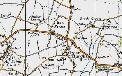 Old map of Great Ellingham in 1946