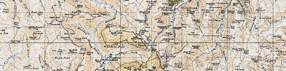 Old map of Aaron Crags in 1947