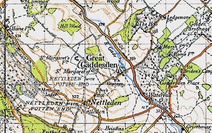 Old map of Great Gaddesden in 1946