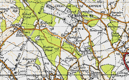 Old map of Great Hampden in 1947