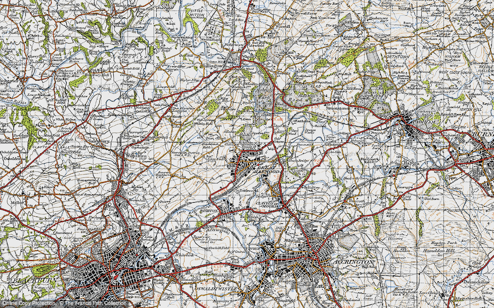 Old Map of Historic Map covering Allsprings in 1947