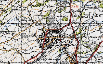 Old map of Allsprings in 1947