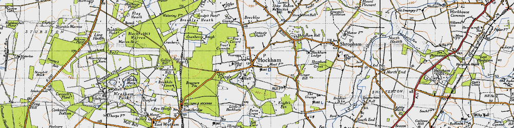Old map of Great Hockham in 1946