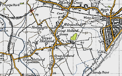 Old map of Great Holland in 1946