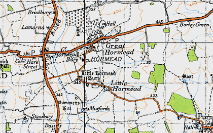 Old map of Great Hormead in 1946