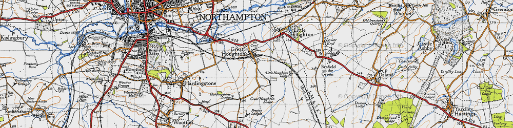 Old map of Great Houghton in 1946