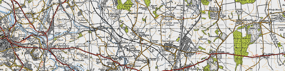 Old map of Great Houghton in 1947