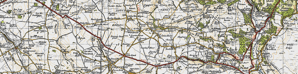 Old map of Great Hucklow in 1947