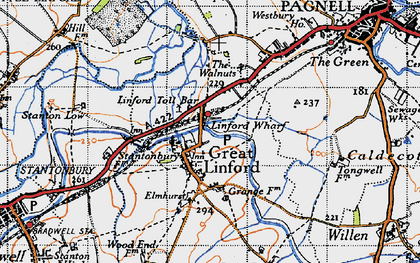 Old map of Great Linford in 1946