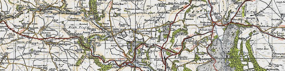 Old map of Great Longstone in 1947