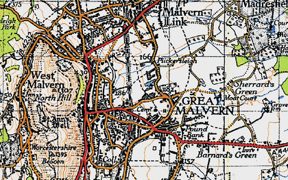 Old map of Great Malvern in 1947