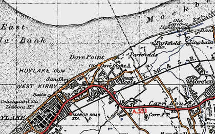 Old map of Great Meols in 1947