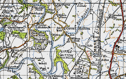 Old map of Great Mitton in 1947