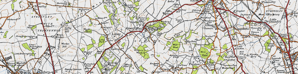 Old map of Westbury Wood in 1946