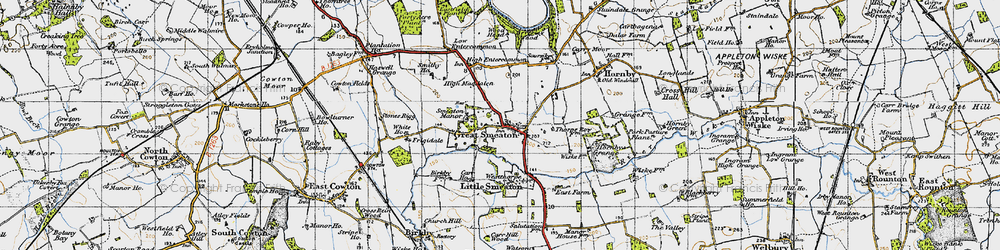 Old map of Great Smeaton in 1947
