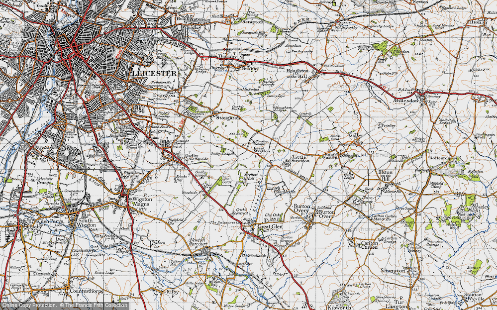 Old Map of Historic Map covering Leicester Airport in 1946
