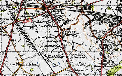 Old map of Great Sutton in 1947